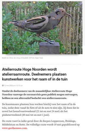 Bericht in OC en online DvhN en Noorderkrant