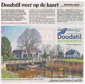 Foto bij artikel over Doodstil in Ommelander Courant - april 2018