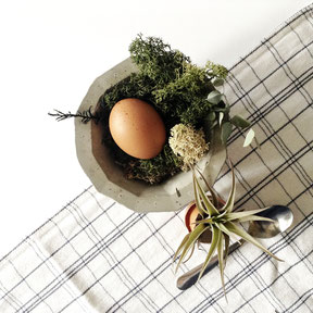Easter Table Setting With Air Plants And Concrete