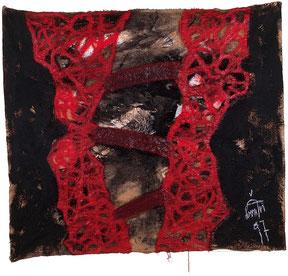 "Eduard Bousrd Banger, ""annwn I"", (grundloser Ort) Mischtechnik auf Molino, 148x130cm, 1997"