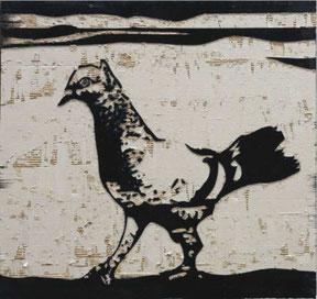 "Hüseyin Isik,  ""Guguk 5""  Mischtechnik, Asphaltlack auf Wellpappe, 100 x 105 cm"