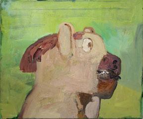 """Alois Mosbacher, """"o.T."""" (Hundebild), 2000,  60x50cm, Öl/Leinwand"""