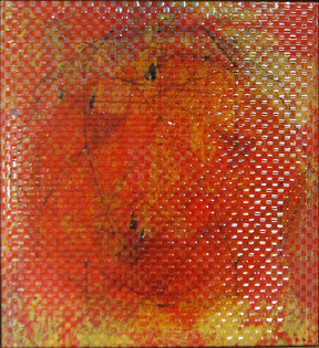 """Inge Kracht,  """"Konstruktion einer Ahnung"""" - 1998 ,C-Print auf Folie, 2 Bilder verwoben, 120x110cm"""