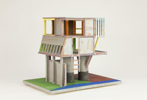 "Lorenz Estermann    ""concord house I"" , 2014 Technik: mixed media 35x42x32cm Kartonsockel"