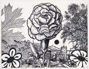 "Paul Morrison, ""Rhexia"", 2011, Linolcut, 95 x 125 cm, gerahmt, Auflage 35"