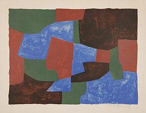 """Serge Poliakoff, """"Composition bleue, verte et rouge"""", Farblithographie ,1961, 56,5 x 74,9 cm,  sign. num. 57/65"""