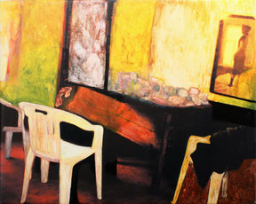"Inge Kracht,   ""oT"" (windowblues), 1998, Acryl,Inkjet /Leinwand, übermalt, 80 x 100cm"