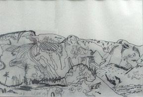 """Karl Anton FLECK  """"Landschaft"""" 79 Zeichnung Grafit auf Papier 30x45cm, gerahmt"""