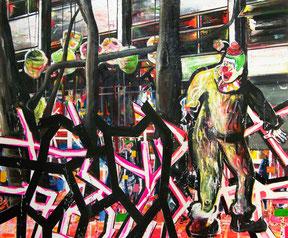 "OLIVER KROPF, ""Falscher Alarm"", Öl, Acryl auf Leinwand, 150 x 180cm,  2010"