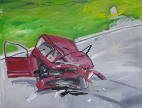 "Ronald Kodritsch, ""Carcrash"", 80x105cm, Öl auf Leinwand"
