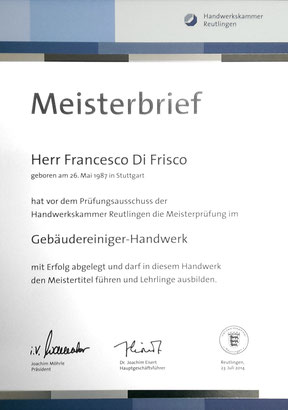 Meisterbrief Francesco Di Frisco