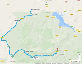 Übersichtskarte - Anfahrt von uns aus über Benamahoma (Ziel) zum Start am Parkplatz. (c) Google Maps