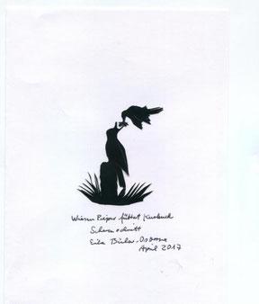 Scherenschnitt: Wiesenpieper füttert jungen Kuckuck
