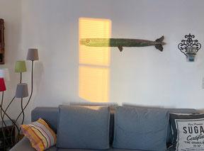 Christine Grandt - Hamburg - Treibholzkunst, Wandskulptur aus Treibholz, grüner Fisch