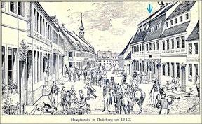 Die annähernd gleiche Sicht um 1840. Das Martius-Haus ist das letzte große Haus rechts mit dem Baldachin.
