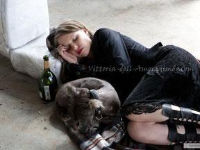 Валерия Гай Германика и китайская хохлатая собака Моня