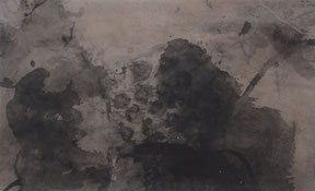 荷2  HE 2 58X93CM  纸本水墨与矿物色 INK & MINERAL COLOR ON PAPER 2003