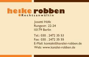 Rechtsanwältin Heike Robben - Visitenkarte