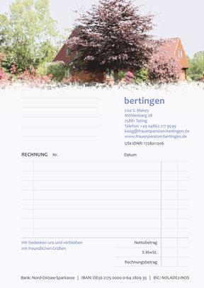 Frauenpension Bertingen - Rechnungsblock