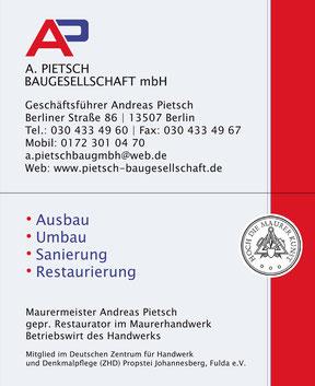 Baugesellschaft mbH Pietsch - Visitenkarte