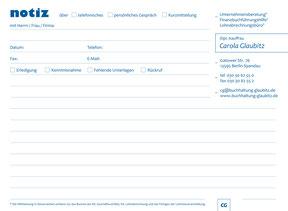 Buchhaltungsbüro Glaubitz - Notizblock