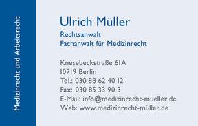 Rechtsanwalt Ulrich Müller - Visitenkarte