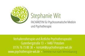Stephanie Wit  - Ärztliche Psychotherapiepraxis -Visitenkarte