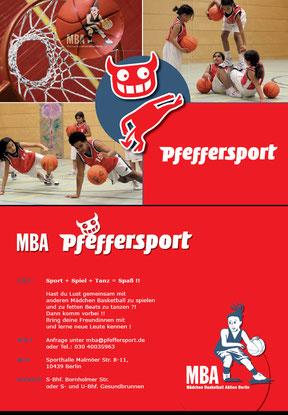 Mädchenbasketballaktion - Werbekarte