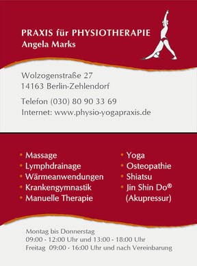 Physiotherapie Angela Marks - Visitenkarte