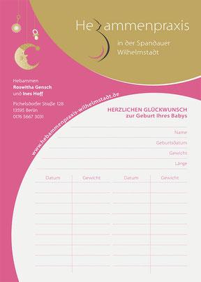 Hebammenpraxis Wilhelmstadt - Wiegekarte