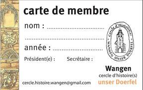 Adhésion Cercle d'Histoire(s) Wangen