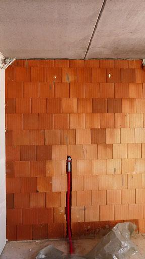 Intensive Durchfeuchtung der Außenwand während der Bauphase