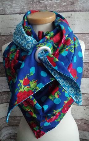 XXL Dreieckstuch Rosen Blumen Tuch handgemacht Handarbeit handmade SaSch Selbstgefertigtes aus Schwaben