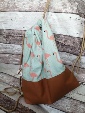 Turnbeutel Gymbag Rucksack Flamingo Flamingos Tiere handgemacht Handarbeit handmade SaSch Selbstgefertigtes aus Schwaben