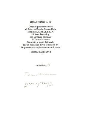colophon numerato e firmato dal poeta e dall'artista