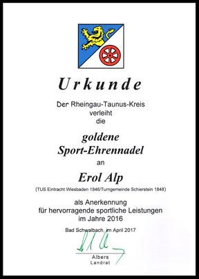 Urkunde der goldenen Sport-Ehrennadel für Erol Alp
