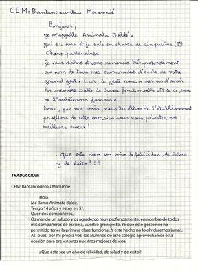 Carta de los alumnos de Bantancountou