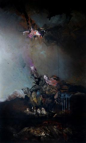 """""""La chute"""" Acrylique sur toile Dim:162cmx97cm"""