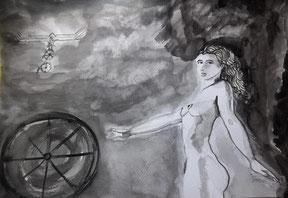 """Encre de chine/ Papier. """"Comme une bicyclette à l'air libre"""" Juan Cameron"""