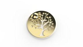 Astre vivement l'été en or, représente un arbre de vie stylisé en fonction d'une saison. La fabrication est française.