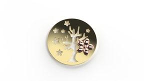 Astre le retour du printemps en or, représente un arbre de vie stylisé en fonction d'une saison. La fabrication est française.
