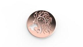 Astre leo symbolisant le signe du lion en or. La fabrication est française.