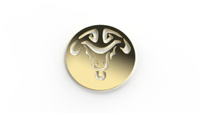 Astre taurus symbolisant le signe du taureau en or. La fabrication est française.