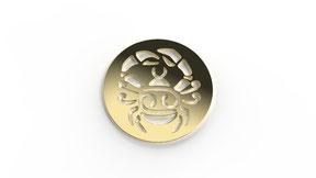 Astre cancer symbolisant le signe du cancer en or. La fabrication est française.