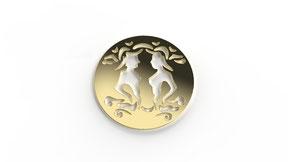 Astre gemini symbolisant le signe du gémeaux en or. La fabrication est française.