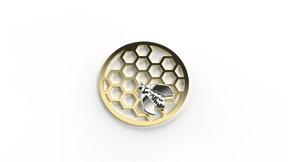 Astre la reine des abeilles en or. La fabrication est française.