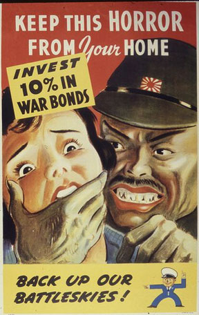 """""""Mantén el peligro fuera de tu casa. Invierte en bonos de guerra"""". Propaganda alemana para incentivar la compra de los conocidos bonos de guerra."""