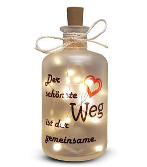 Flaschenlicht der schönste Weg ist der gemeinsame