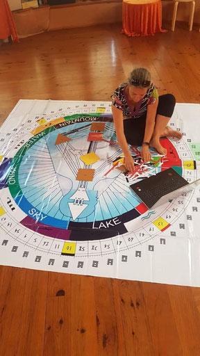 Heidi Winkler sitzt auf Human Design Mandala Teppich