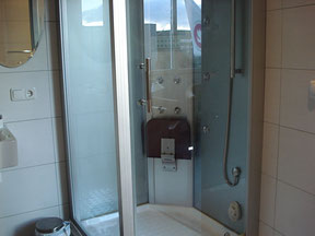 Steam shower cabin with music and light therapy settings
